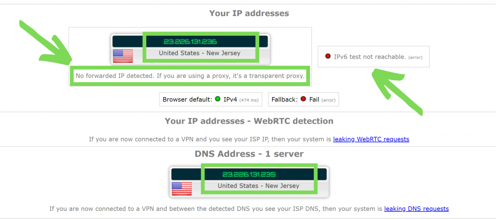 Screenshot of ExpressVPN's IP and DNS leak tests