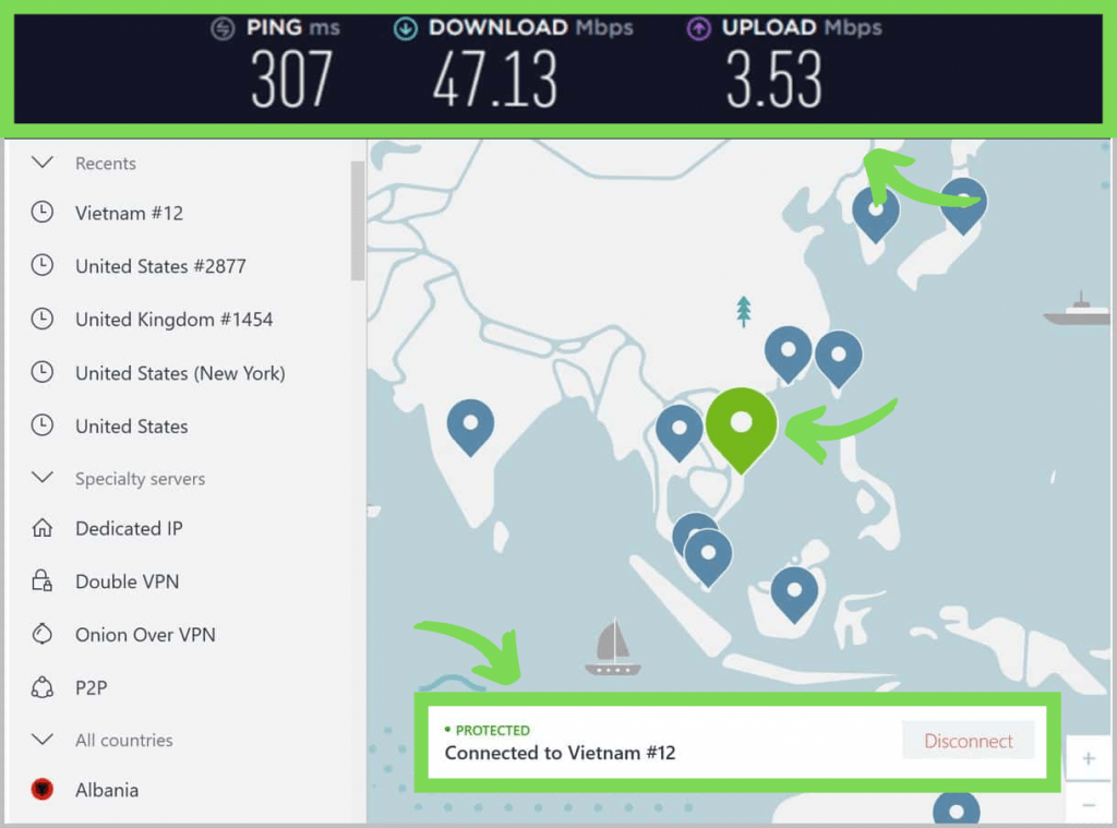 NordVPN connected to a server in Vietnam. Showing ping, download, and upload speeds.