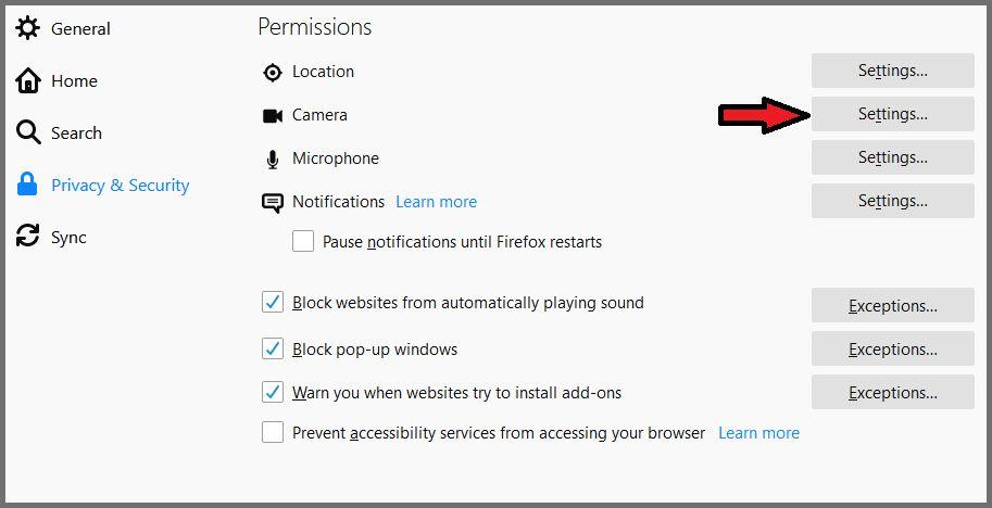 Firefox Permissions