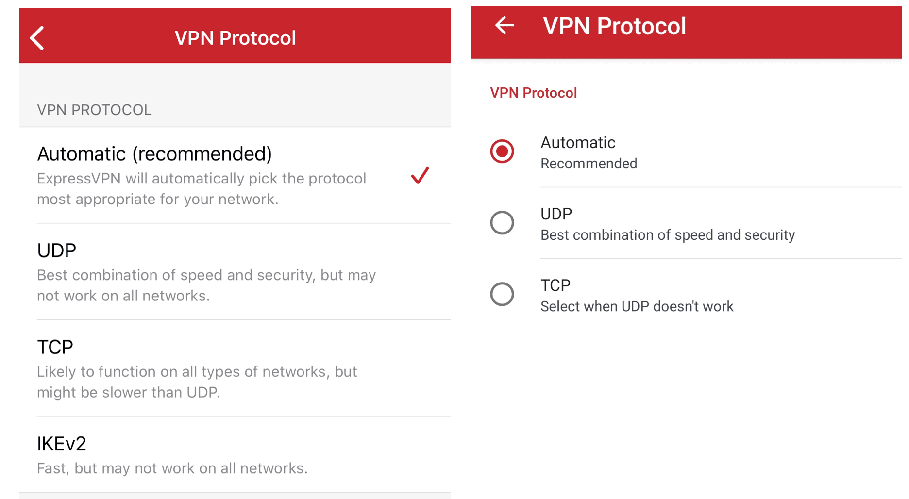 ExpressVPN protocol options