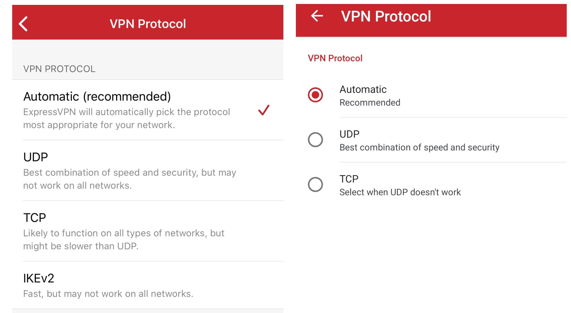 ExpressVPN protocol options