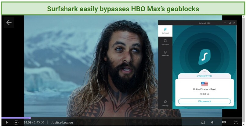 screenshot of Justice League streaming in HBO Max player unblocked with Surfshark