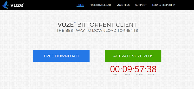 Vuze homepage screenshot