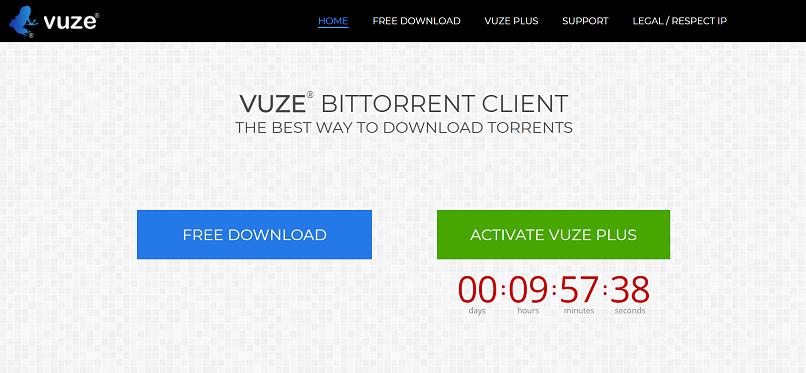 Vuze homepage screenshot