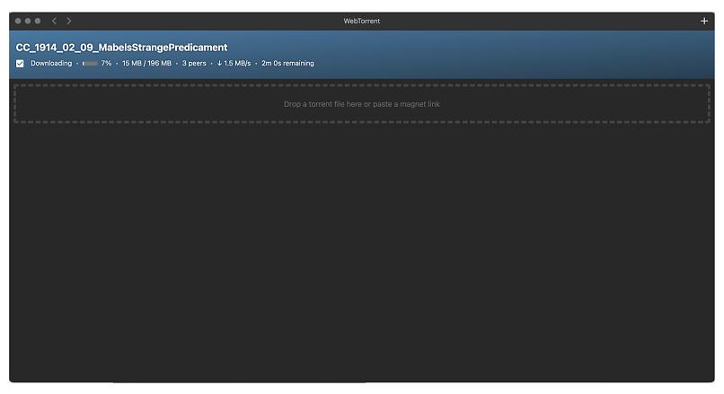Graphic showing WebTorrent client interface