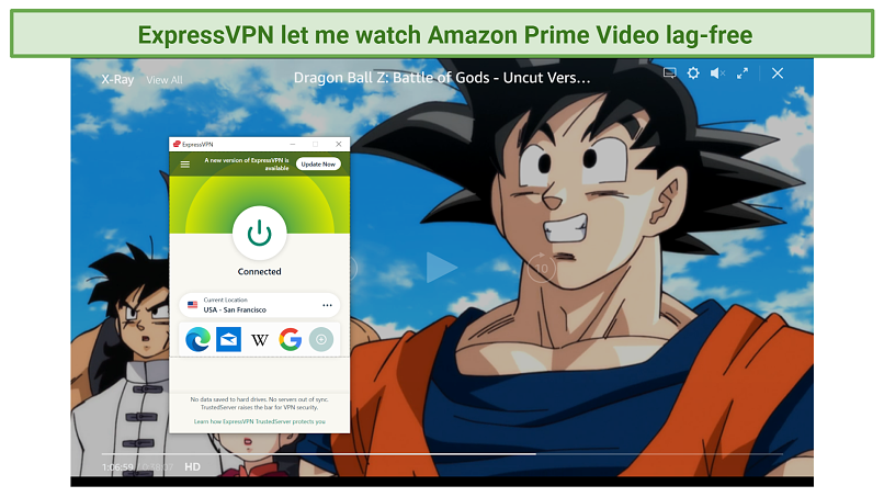Screenshot of Amazon Prime Video player streaming Dragon Ball Z: Battle of Gods unblocked with ExpressVPN