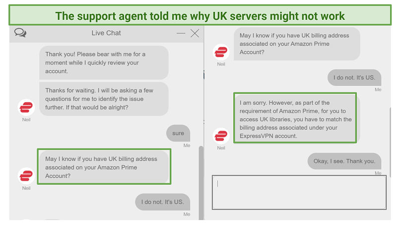 Screenshot of ExpressVPN live chat discussing Amazon Prime Video UK library