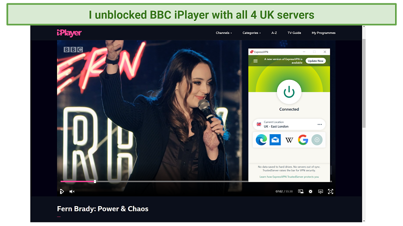 Screenshot of BBC iPlayer streaming Fern Brady: Power & Chaos unblocked by ExpressVPN