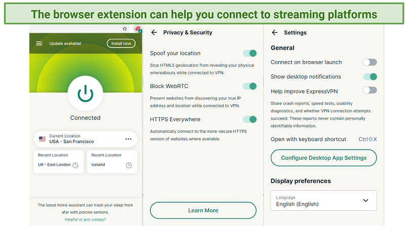 Screenshot showing the ExpressVPN Chrome extension and its option screens