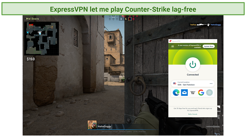 Screenshot of Counter-Strike Global Offensive played while connected to ExpressVPN