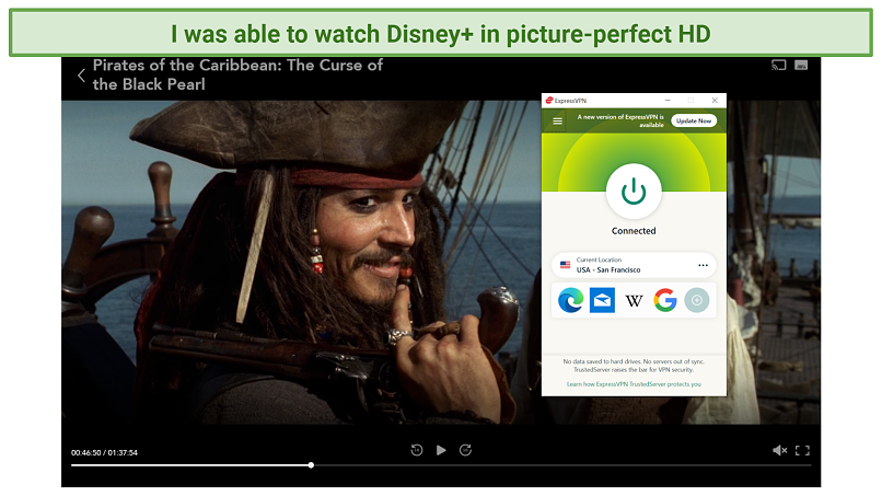 Screenshot of Disney+ player streaming Pirates of the Caribbean: The Curse of the Black Pearl unblocked by ExpressVPN