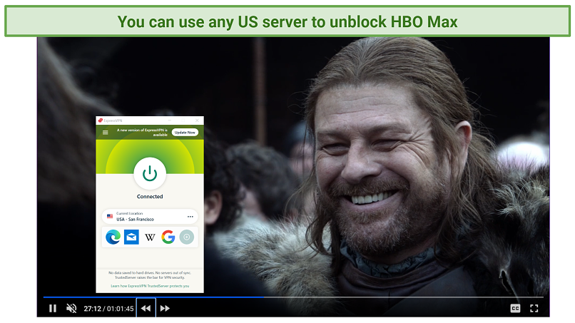 Screenshot of HBO Max player streaming Game of Thrones unblocked by ExpressVPN