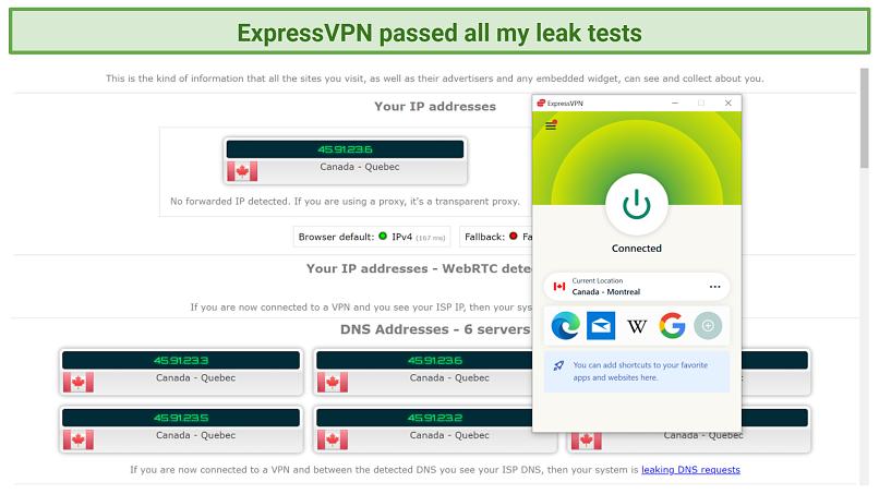 Screenshot of a leak test performed with ExpressVPN on ipleak net