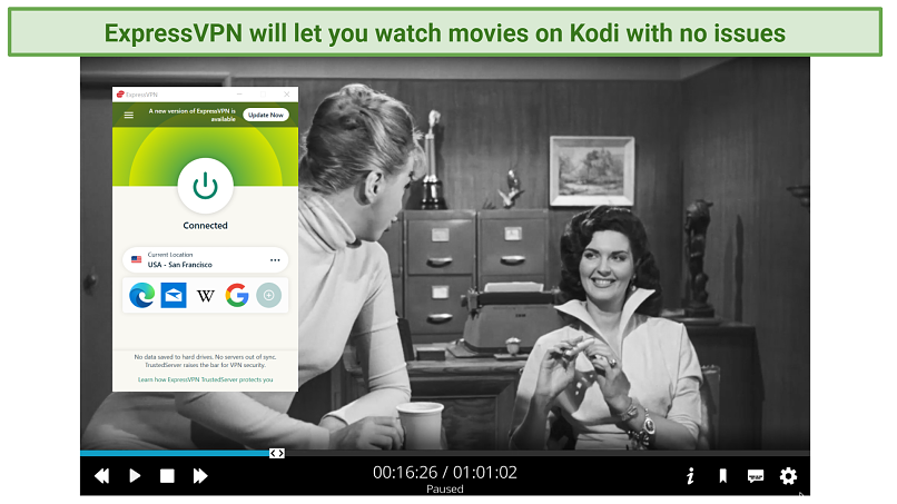 Screenshot of Kodi software streaming The Wasp Woman with Popcorn Flix while connected to ExpressVPN