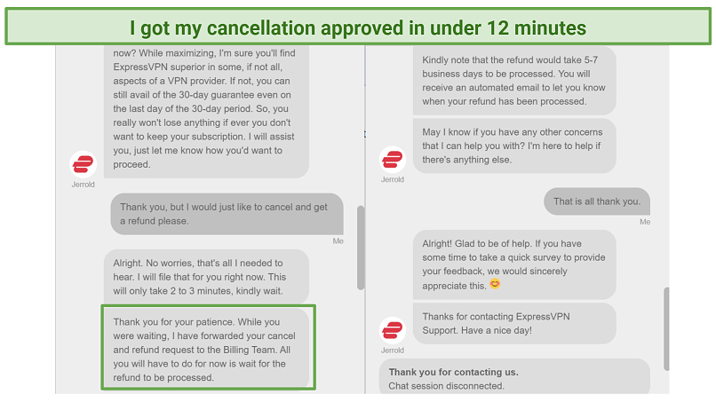 Screenshot of live chat where I requested a refund