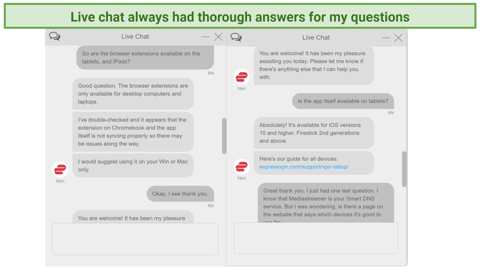 Screenshot of live chat support agent answering questions about Chromebook and tablets