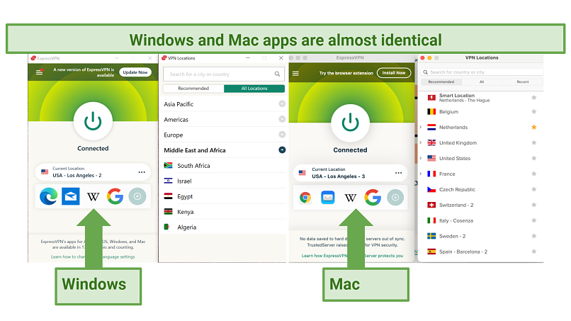 Screenshots of the ExpressVPN Windows and Mac apps side-by-side