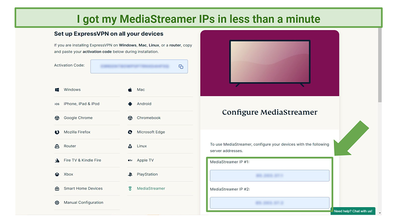 Screenshot of MediaStreamer settings on ExpressVPN account website
