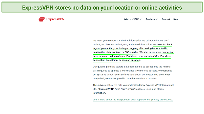 Screenshot of the ExpressVPN privacy policy highlighting what it does not collect
