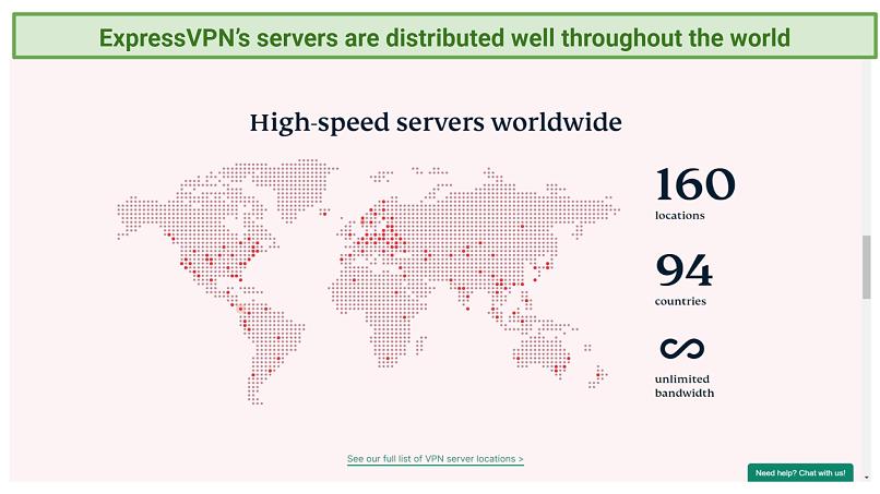 Screenshot of server map from the ExpressVPN website