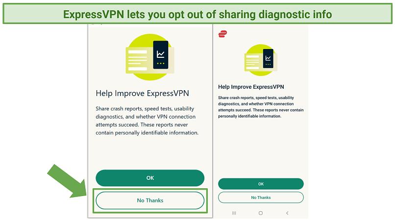 Screenshot of Help Improve ExpressVPN page on ExpressVPN app