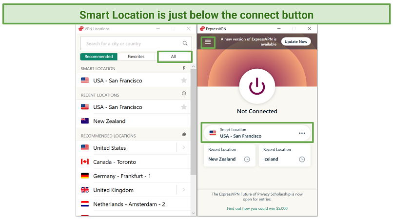 Screenshot of ExpressVPN app showing where to find Smart Location and server list