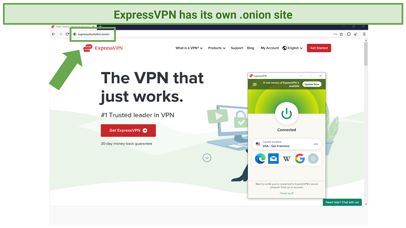 Screenshot of expressobutiolem.onion accessed while connected to ExpressVPN