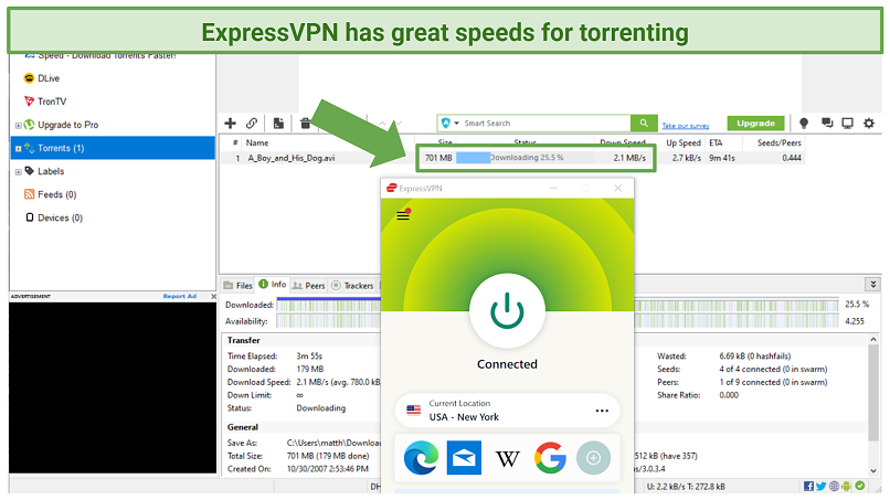 Screenshot of Utorrent downloading A Boy and His Dog while connected to ExpressVPN