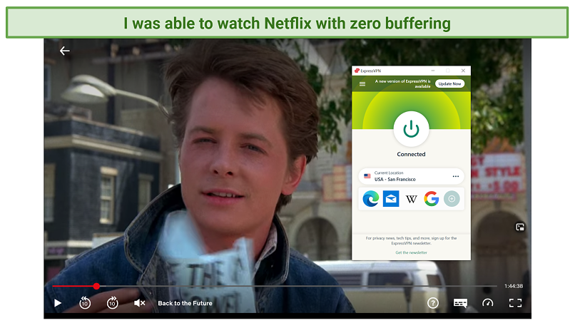 Screenshot of Netflix player streaming Back to the Future unblocked with ExpressVPN