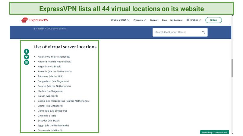 Screenshot of virtual server list on ExpressVPN website
