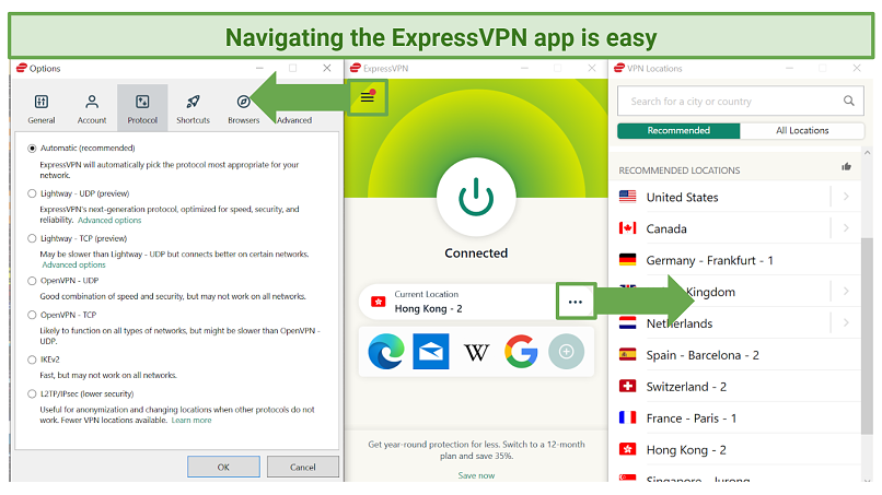 Screenshot of ExpressVPN Windows app showing the home screen, server list, and options page