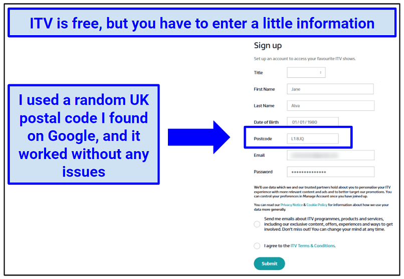 Screenshot showing the ITV Hub registration process, which requires a UK postal code.