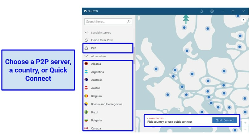 A screenshot of NordVPN's app interface