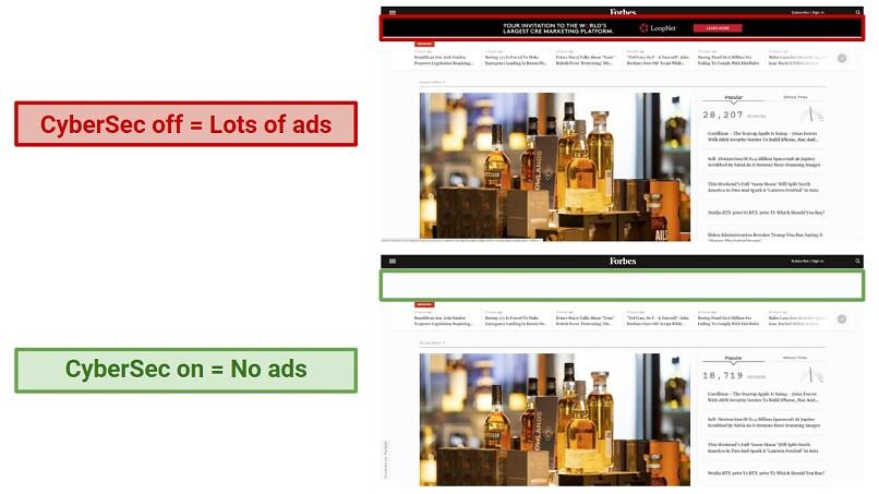 A screenshot of NordVPN's CyberSec feature blocking ads