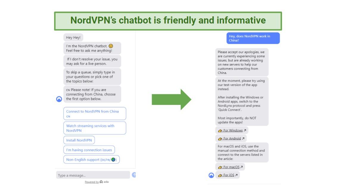 A screenshot of NordVPN's helpful chatbot interface