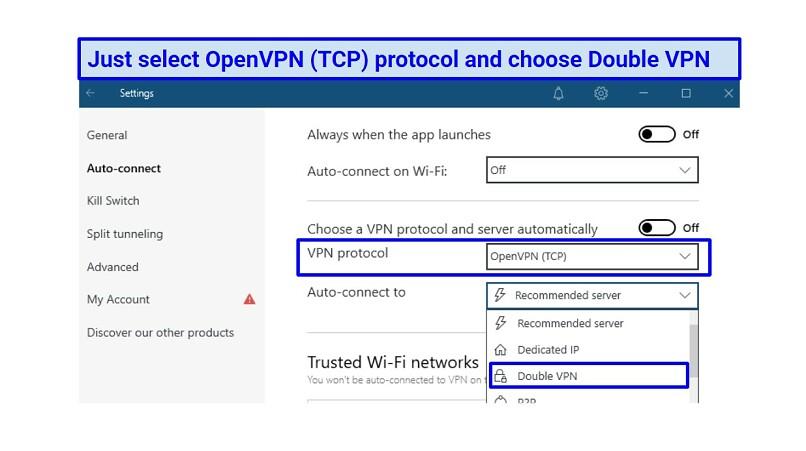 A screenshot of NordVPN's double VPN settings