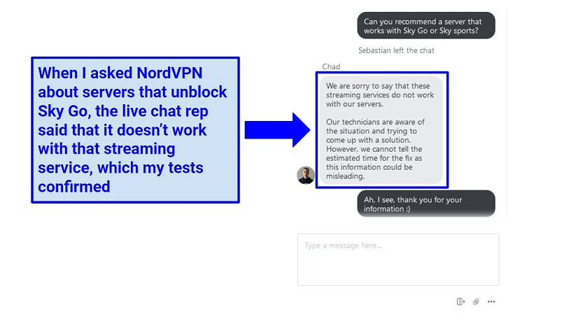 A screenshot of NordVPN live chat rep explaining that NordVPN doesn't work with SkyGO