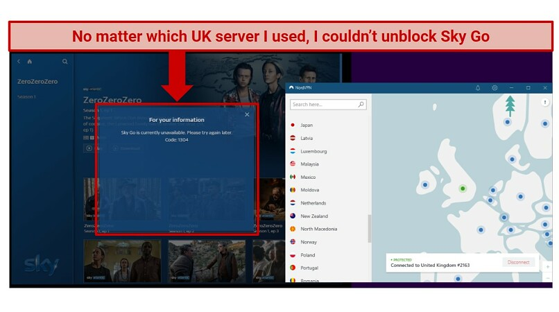 A screenshot of NordVPN not being able to unblock SkyGo