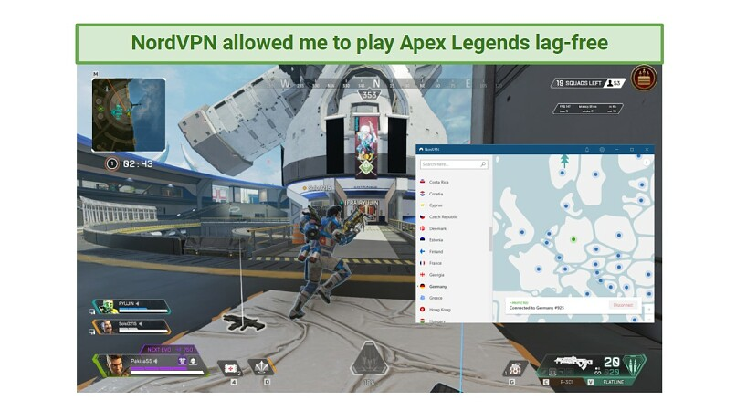 A screenshot of playing Apex Legends with NordVPN