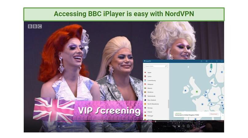 A screenshot of NordVPN unblocking BBC iPlayer
