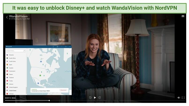 A screenshot of NordVPN unblocking Disney+