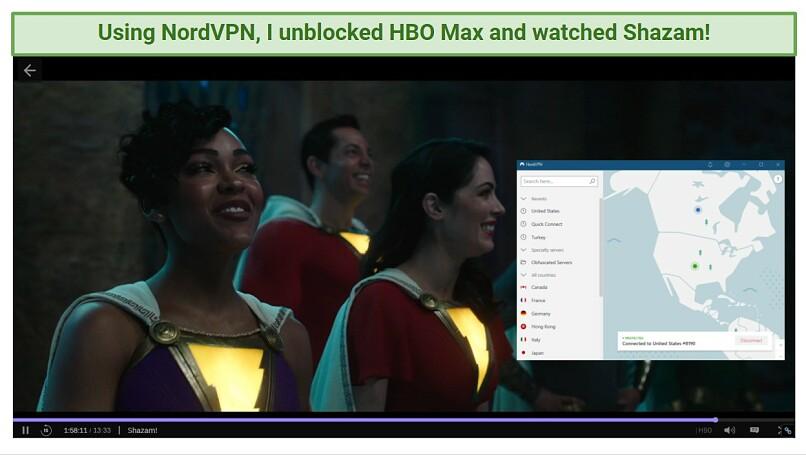 A screenshot of NordVPN unblocking HBO Max