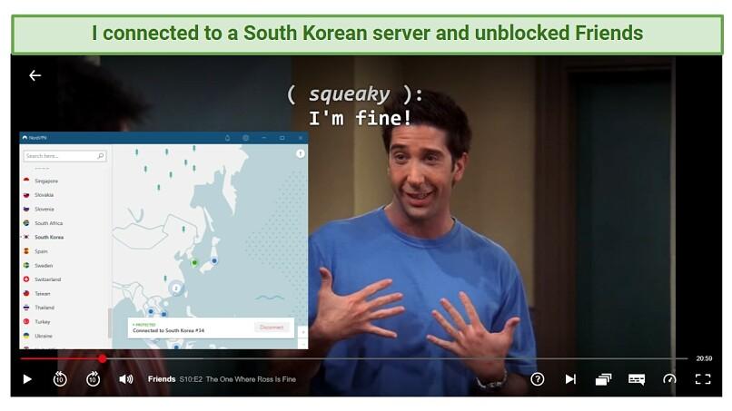 A screenshot of NordVPN unblocking Netflix South Korea