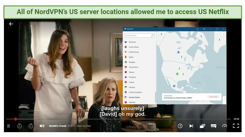 A screenshot of NordVPN unblocking Netflix US