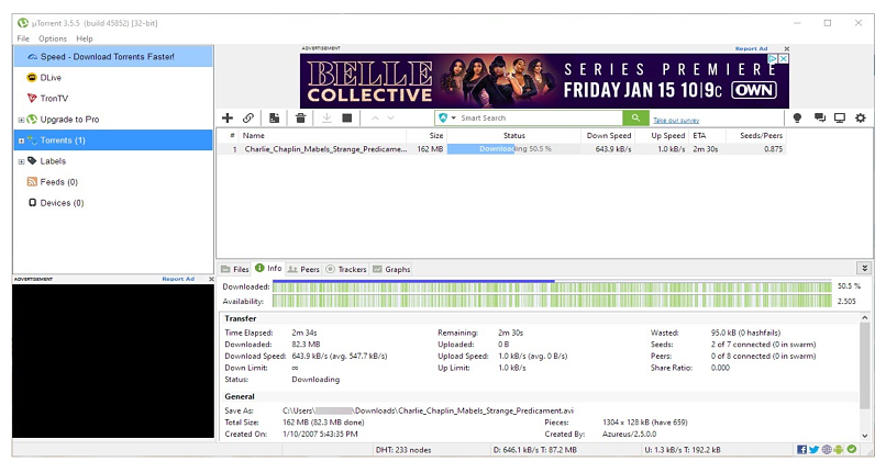 Graphic showing uTorrent client interface