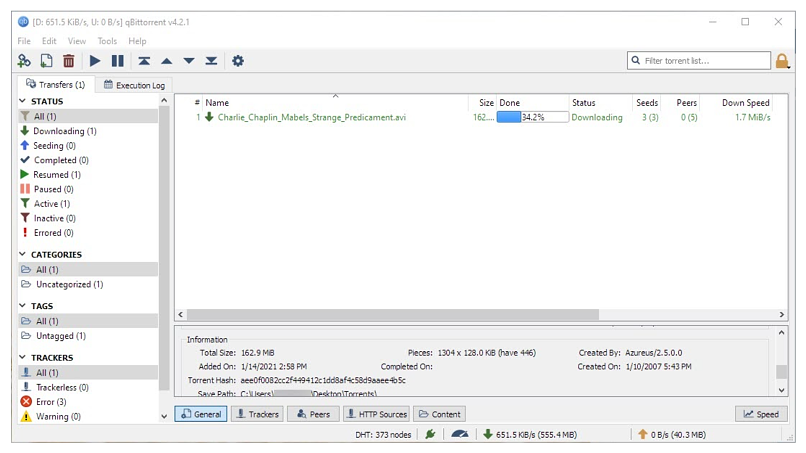 Graphic showing qBitTorrent client interface