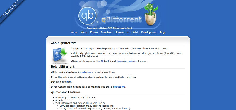 qBittorrent homepage screenshot