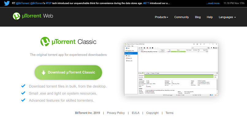 utorrent homepage screensshot