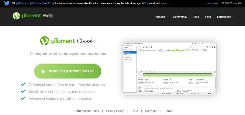 utorrent homepage screensshot