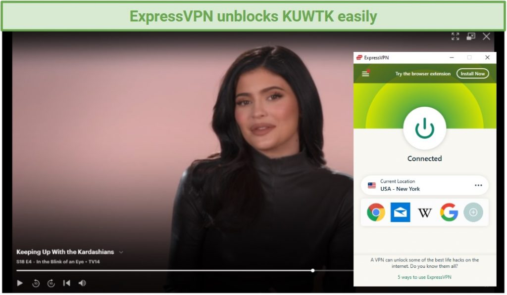 Image of watching KUWTK on Hulu with the ExpressVPN app running